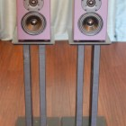 Front shot on stands of the Mini J Two-way Bookshelf speakers